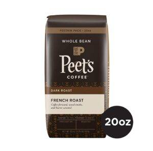 Peet's Coffee French Roast Dark Roast Whole Bean Coffee, 20 Ounce Bag Peetnik Value Pack