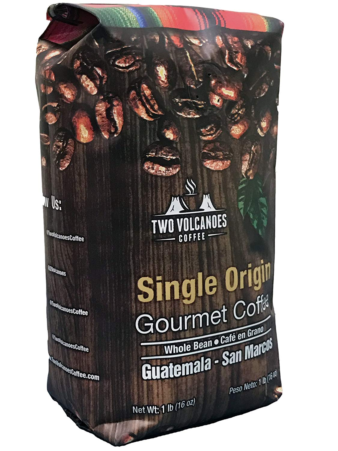 Two Volcanoes Coffee - Gourmet Guatemala Whole Bean Medium Roast Single-Origin Coffee.