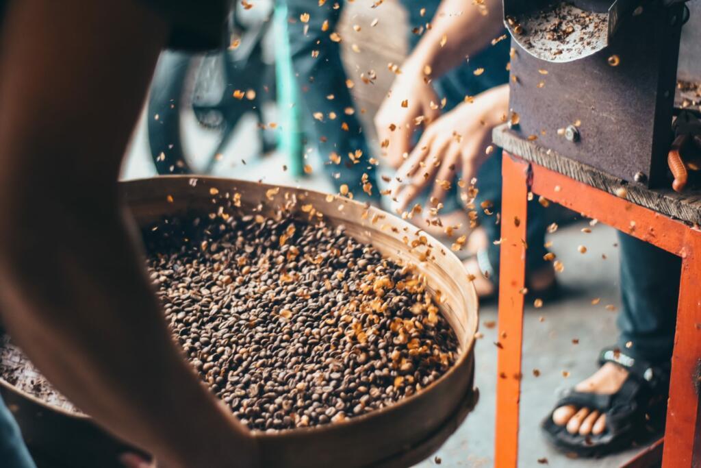 coffee beans roasting