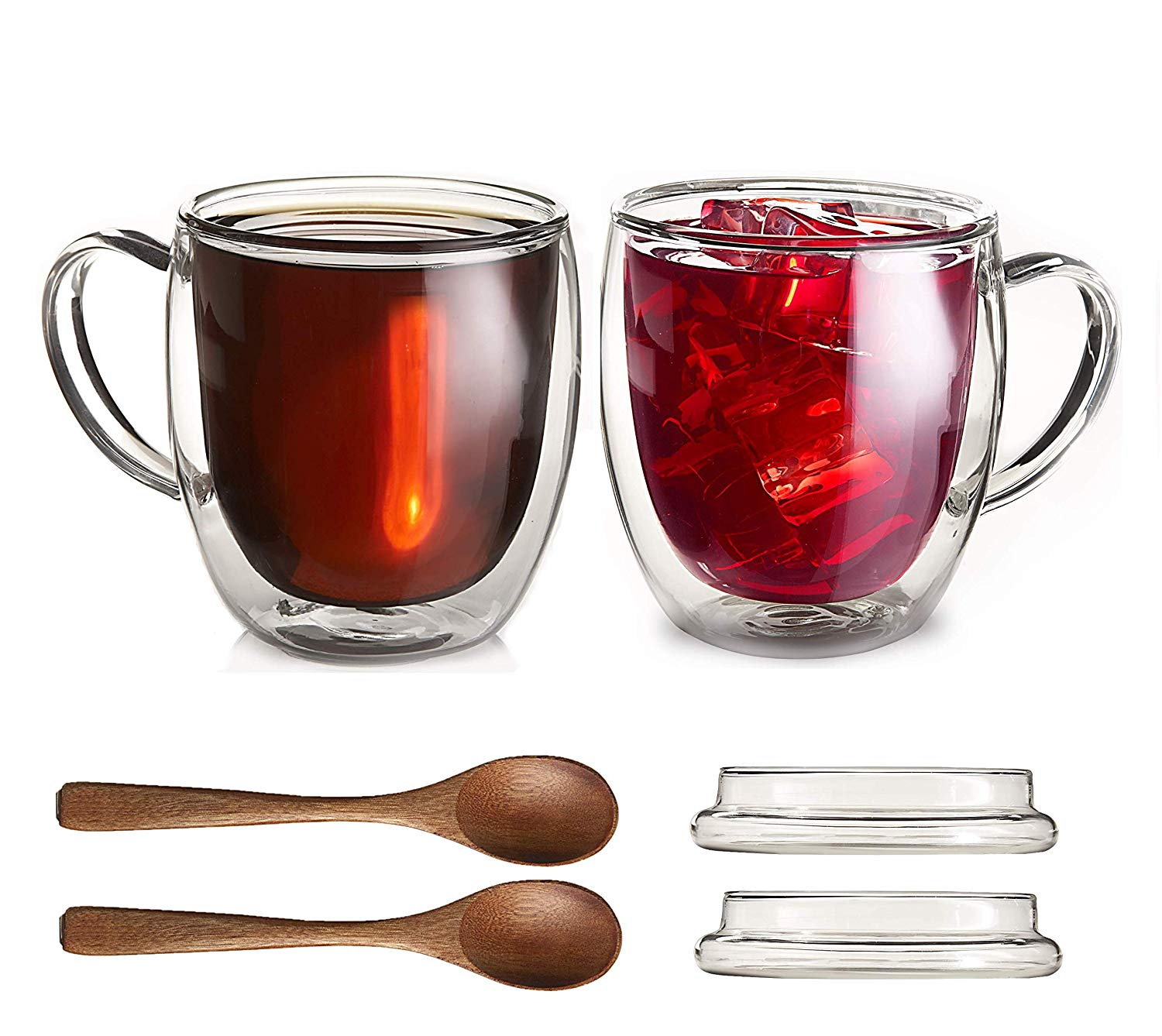 Large Double-Wall Insulated Glass Mugs