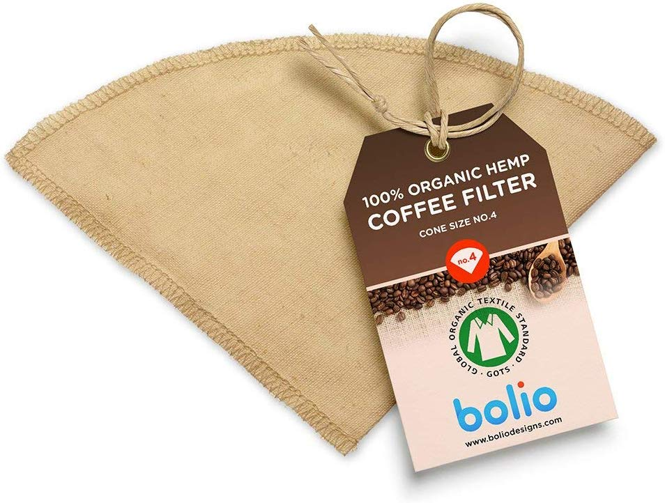 Organic Hemp Cone Coffee Filter Reusable and Great for Making Smooth Natural Tasting Pour Over Coffee Eco-Friendly Bacteria Resistant Material Suit with Bolio Chemex Coffee Gator Carafe