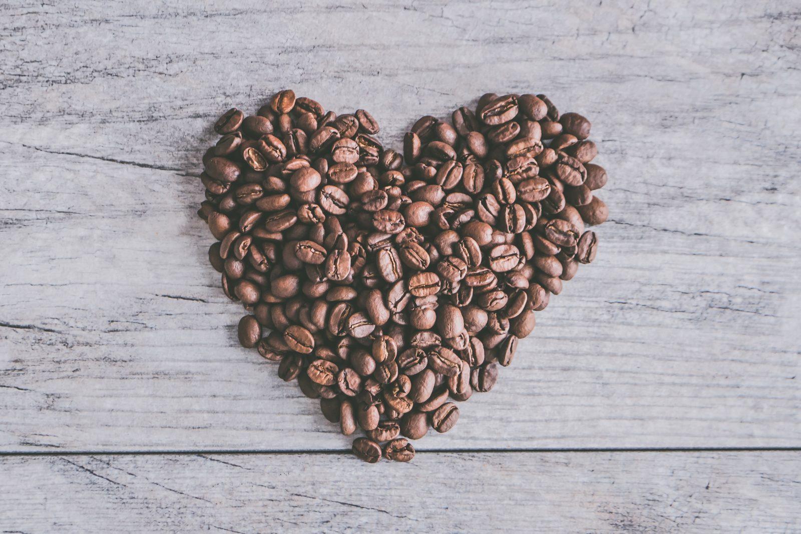 coffee shaped into heart