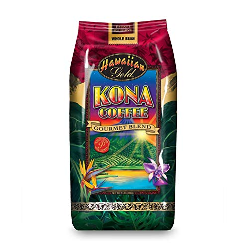 Hawaiian Gold Kona Medium Roast Gourmet Blend Whole Bean Coffee