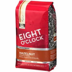 Eight O'Clock Whole Bean Coffee, Hazelnut,