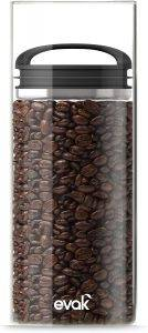EVAK Glass and Stainless Airtight Coffee Storage Container