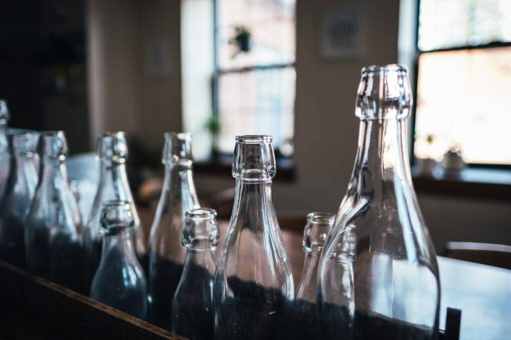 photography of glass bottles