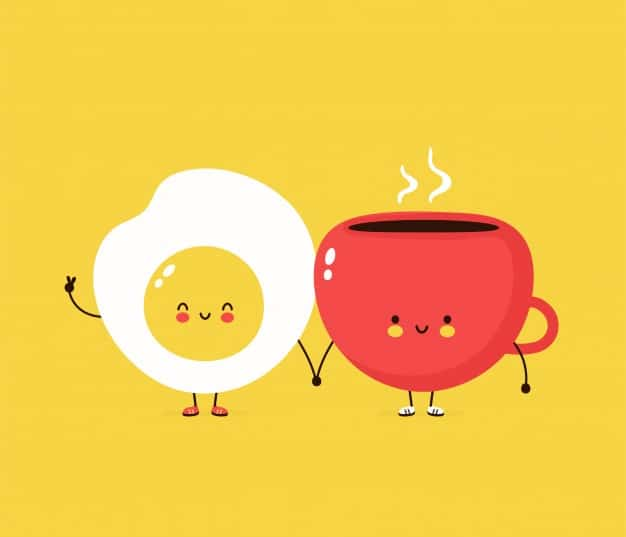 cute happy fried egg coffee cuo cartoon character illustration design simple flat style fried egg cup character concept 92289 965