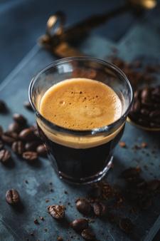 closeup classic fresh espresso served dark surface 1220 5376
