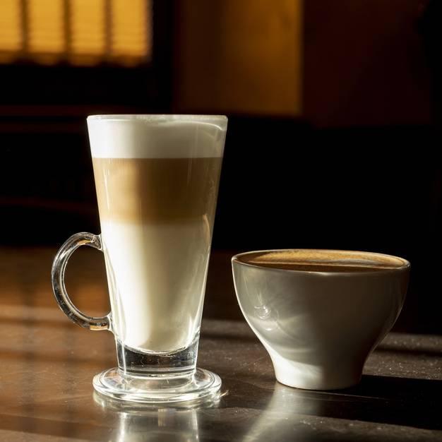 delicious organic latte macchiato with milk 23 2148420330