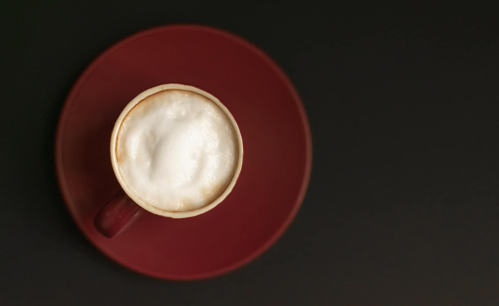 red mug and plate